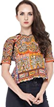 Exotic India Carrot-Orange Backless Choli from Kutch with Embroidered Motifs and Mirrors