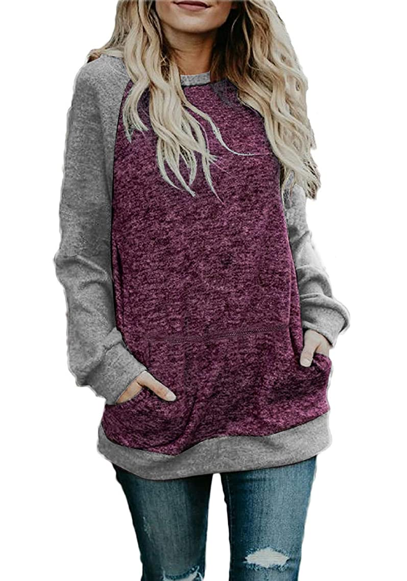 SEHOO Women's Oversized Sweatshirts Long Sleeve Knit Tunic Tops Shirts