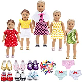 18 Inch Doll Clothes&Accessories , Include 5 Set Toys Doll Outfits + 2 Pairs Doll Shoes +2 Doll Underwear Doll Accessories, Fit American Dolls Girls Dolls