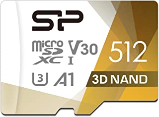 Silicon Power 512GB R/W up to 100/ 80MB/s Superior Pro microSDXC UHS-I (U3), V30 4K A1, High Speed MicroSD Card with Adapter