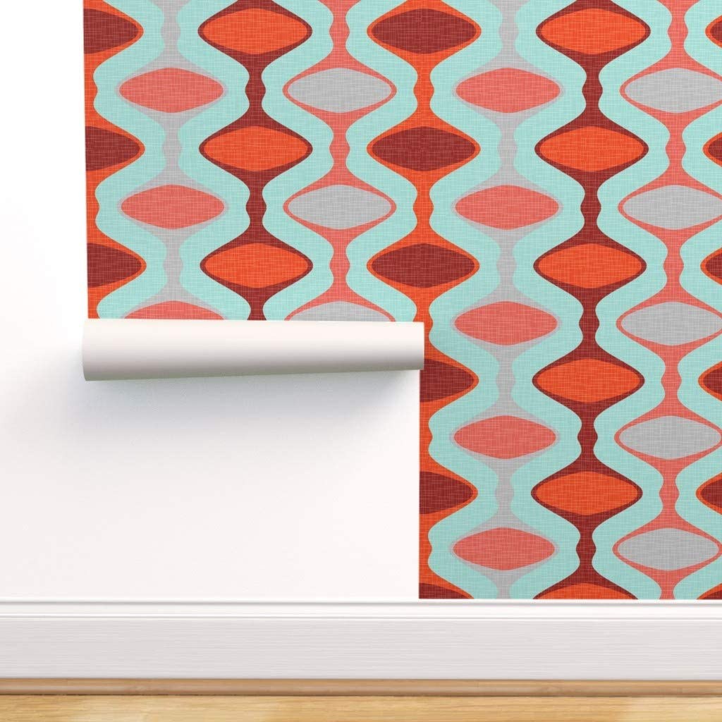 Spoonflower SEAL限定商品 Peel and お気に入り Stick Removable Strip Wallpaper Ogee 1960S