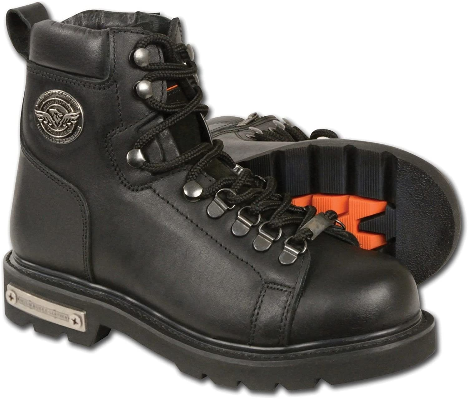 Milwaukee Women's Motorcycle Leather Boots with Waterproof Lace to Toe Boot Side Zipper