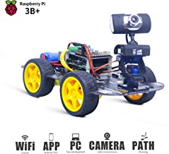 DS Wireless Wifi/Bluetooth Robot Car Kit for Raspberry pi 3B+, Remote Control Hd Camera 16G SD Card Robotics Smart Educational Toy controlled by iOS Android App PC software with Source Code