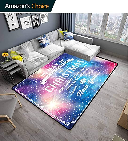 Christmas Floral Area Rug Soft Polygonal Abstract Dotted Backdrop Happy New Year Celebration Quote Joy And Peace Durable Rugs Living Dinning Office Rooms Bedrrom Hallway Carpet 2 5 X 9