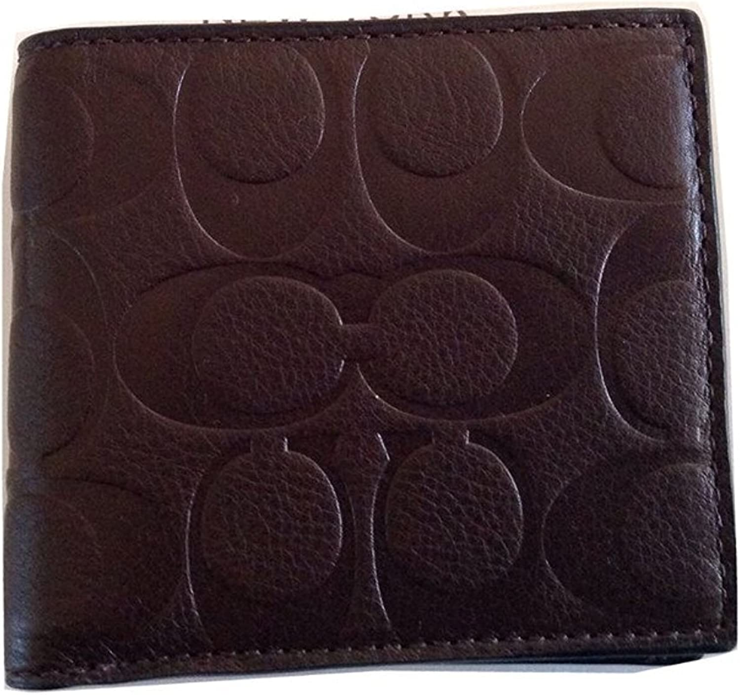 Coach Men's Mahogany Signature Leather Coin/Credit Card Wallet
