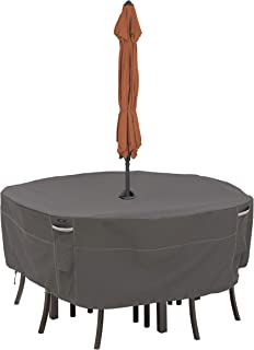 Classic Accessories Ravenna Water-Resistant 60 Inch Round Patio Table & Chair Set Cover with Umbrella Hole