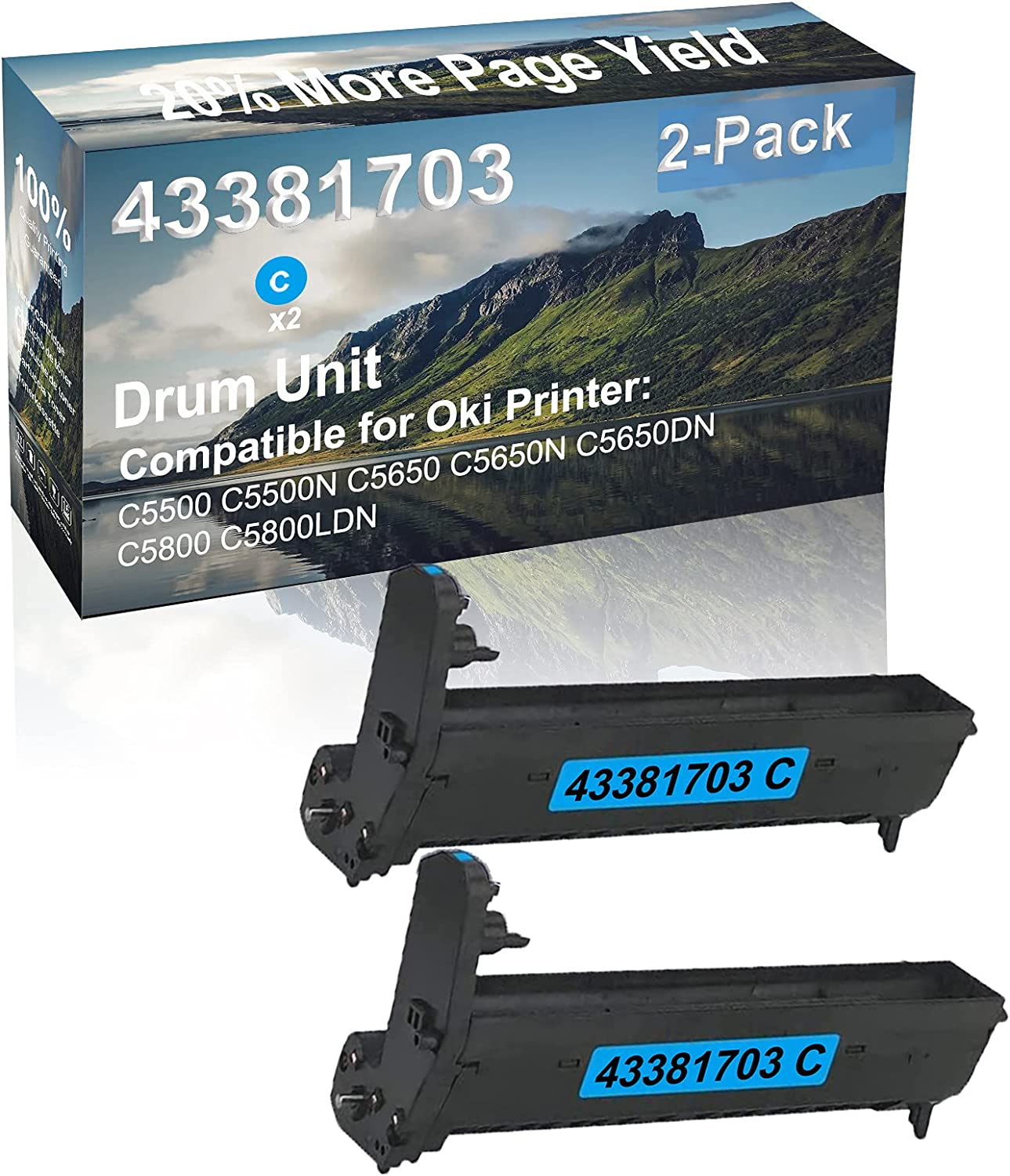 2-Pack (Cyan) Compatible C5650N C5650DN Printer Drum Kit High Capacity Replacement for Oki 43381703 Drum Unit