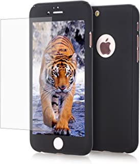 for iPhone 7 Plus Case, AUSURE [2 in 1] Full Body Protection Ultra Hard and Thin Premium Luxury Cover [Slim Fit] Shock Proof Skid-Proof PC Case with Tempered Glass for iPhone 7 Plus (Black)