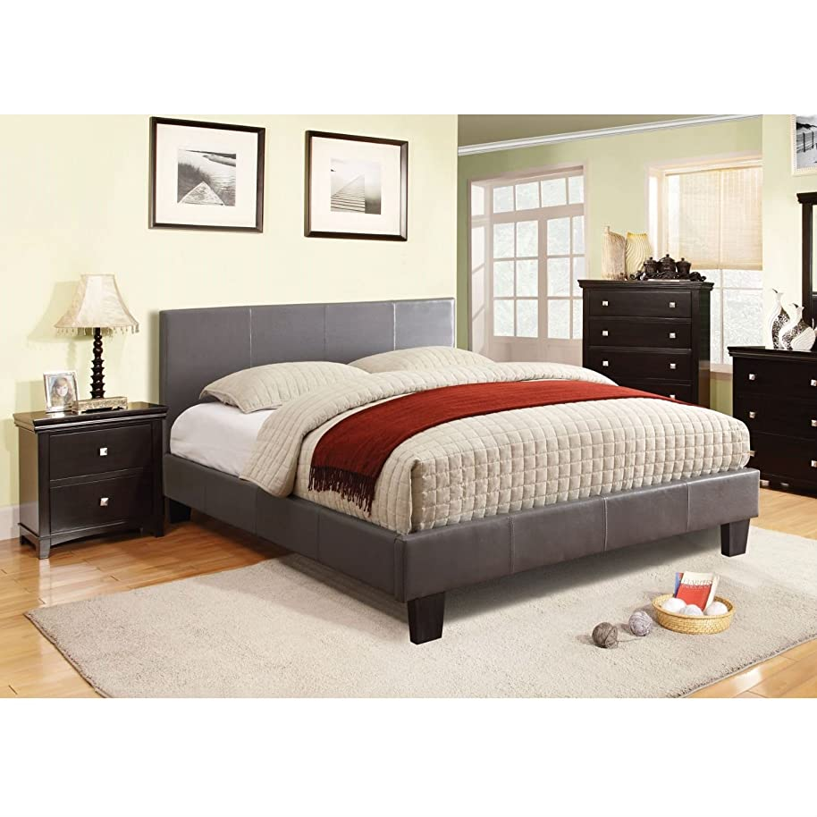 Swag Pads Full Size Platform Bed with Headboard Upholstered in Gray Faux Leather