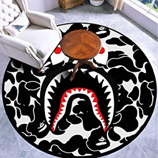 Round Area Rug Kids Carpet Playmat Non-Slip Throw Runner Rug Black Indoor Floor Carpet Door Mat for Bedroom Living Room Home Decor