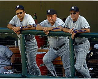 Joe Torre Don Zimmer and Mel Stottlemyre Triple Signed On Dugout Steps 16x20 Photo (Signed in Blue)(MLB Auth) - Steiner Sports Certified