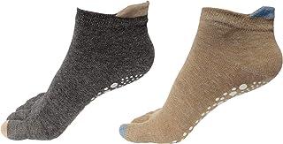 Yoga Socks Non Slip Cotton Grips Socks with Toes for Pilates Barre Ballet Dance Women 2Pack