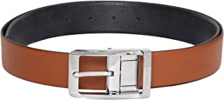 Otuoro Men's Handmade Textured Black and Tan Reversible belt with Hickok Reversible Buckle