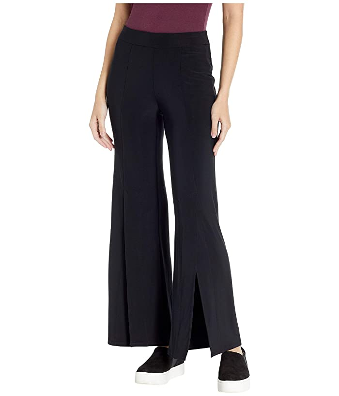 Tribal Pack and Go Travel Jersey Wide Leg Pants w/ Slits (Black) Women