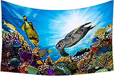 Artzfolio Coral Reef with Fishes & Sea Turtle Canvas Tapestry Wall Hanging 51.8 X 34.6Inch