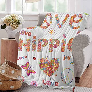 Luoiaax Groovy Rugged or Durable Camping Blanket Love Hippie Flowers Festive Season Ladybird Ladybugs Nature Flourishes Art Print Warm and Washable W70 x L70 Inch Multicolor