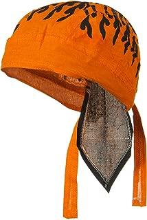 Orange and Black Doo Rag Skull Cap, Cotton Bandana Hair Wrap, Dorag