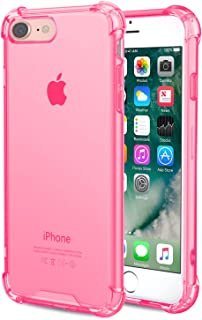 Speira iPhone 8 / iPhone 7 Transparent Case with Reinforced Corners, [Anti-Discoloration] [No-Slip Grip] (Hot Pink)