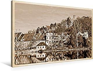 Premium - Lienzo de tela (90 cm x 60 cm, horizontal, vista sobre la Lech en Klaul y Jungfernsprungturm, imagen sobre bastidor, imagen sobre bastidor, Landsberg am Lech (CALVENDO Orte);CALVENDO Orte