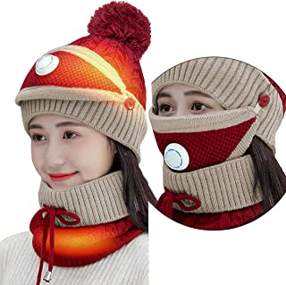 HEATED Beanie HATS SET with HEAT Neck Snood SCARF and Dust Filter Face MASK for Warmer, Washable Stylish Wooly Knitting Wi...
