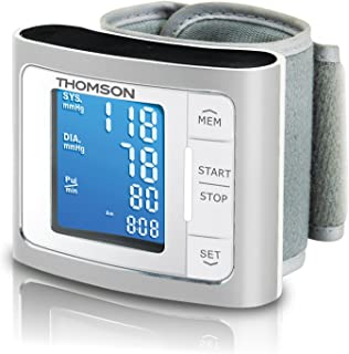 Thomson TTMB1014 - Tensiómetro de muñeca eléctrico, pantalla LCD, compatible con iOS y Android, color gris