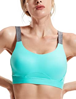 SYROKAN Women's High Impact Molded Cup Full Coverage Sports Bra for Running Yoga Gym