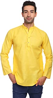Men's Cotton Silk Blend Tailored Fit Casual/Festive Indian Kurta Dress Shirt : Multiple Color Options