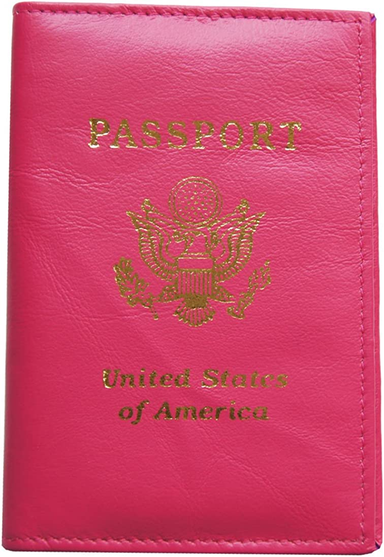 AG Wallets Genuine Leather Travel Passport Cover with USA Emblem (Pink)