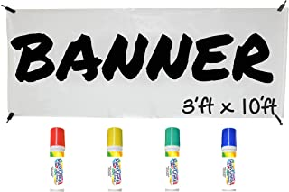 Banner Kit by Glass Chalk - 1 White Blank Banner, 4 Clips, Rope, Primary Color Markers