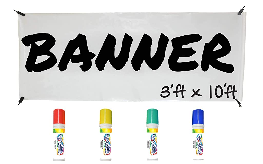 WHATUP Banner Kit by Glass Chalk - 1 white blank banner, 4 clips, rope, 4 primary color markers