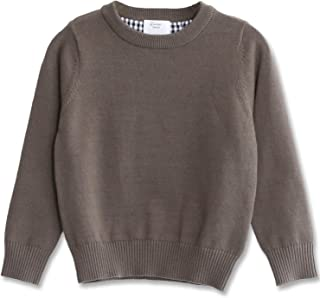 Boys' Long Sleeve Crew Neck Cotton Pullover Knit Sweater
