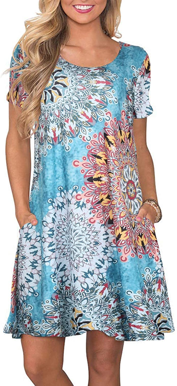 FZ FANTASTIC ZONE Women's Casual Summer T Shirt Dresses Short Sleeve Swing Dress with Pockets