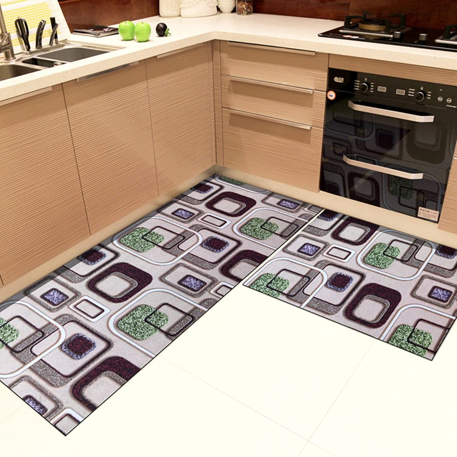 Carpet Door mats Foot pad Kitchen Oil-Proof Water Absorption Non-Slip Bedroom Bathroom-A 18x24inch+18x71inch