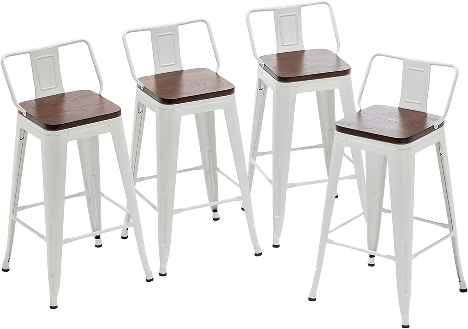 """Yongqiang 9"""" Metal Bar Stools with Back Set of 9 Kitchen Counter Height  Stools with Wooden Seat White"""