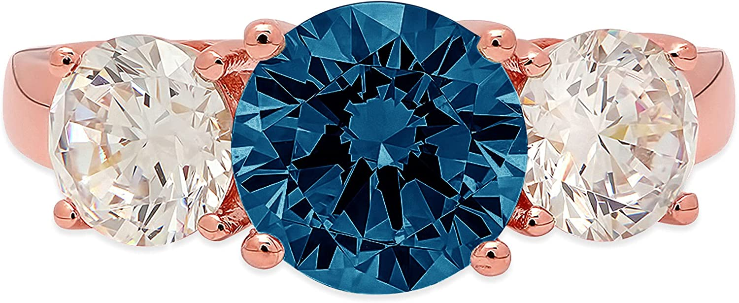3.25 ct Brilliant Round Cut Solitaire 3 stone Genuine Flawless Natural London Blue Topaz Gemstone Engagement Promise Statement Anniversary Bridal Wedding Ring Solid 18K Rose Gold