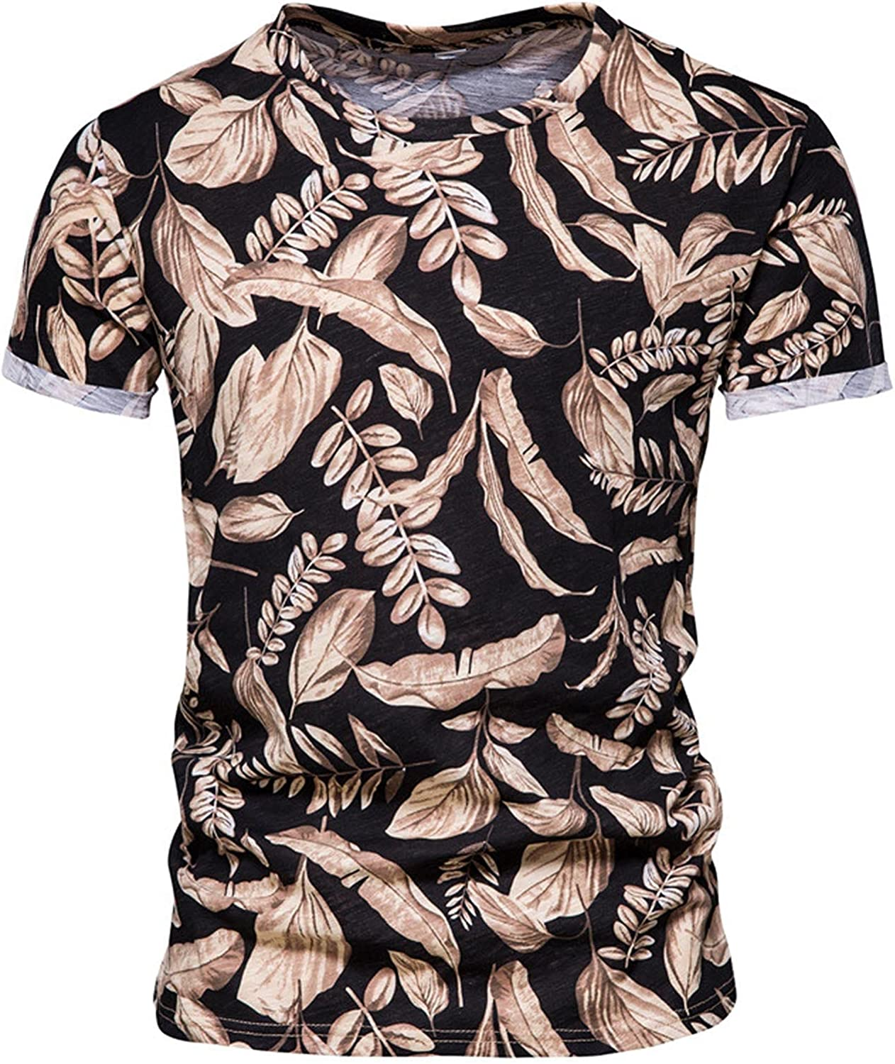 Yihaojia Men Blouse Mens Summer Beach All Over Printed Short Sleeve T-Shirts Workout Sports Tee Shirt