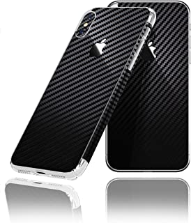 for iPhone X Decorative Carbon Fiber Vinyl Back & 2 Sides Protector Anti Scratch Skin Guard - 3D Surface - Bubble -Free Easy to Install by IPG (Black Carbon Fiber)