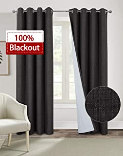 Alexandra Cole 100% Blackout Curtains for Living Room Bedroom Burlap Curtains Thermal Insulated 63 Inch Length Faux Linen Casual Textured Window Curtains 2 Panels Charcoal Grey