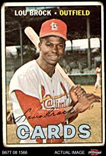 1967 Topps # 285 Lou Brock St. Louis Cardinals (Baseball Card) Dean`s Cards 1.5 - FAIR Cardinals