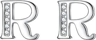 Letter Earrings 925 Sterling Silver Cubic Zirconia Initial Alphabet A-Z 26 Letters Stud Earrings Birthday gift for Women