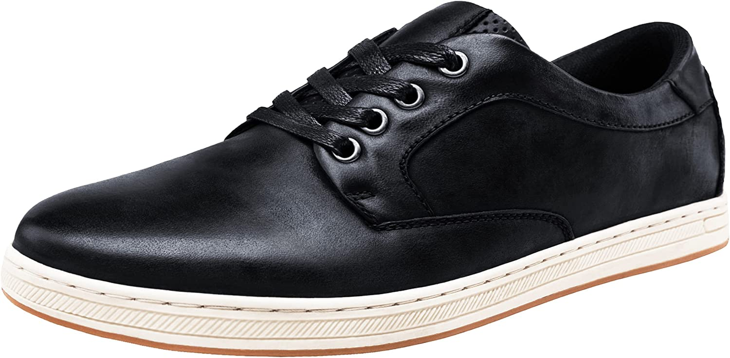 JOUSEN Men's Causal Time sale Shoes Fashion Time sale Leather Oxford Sneakers