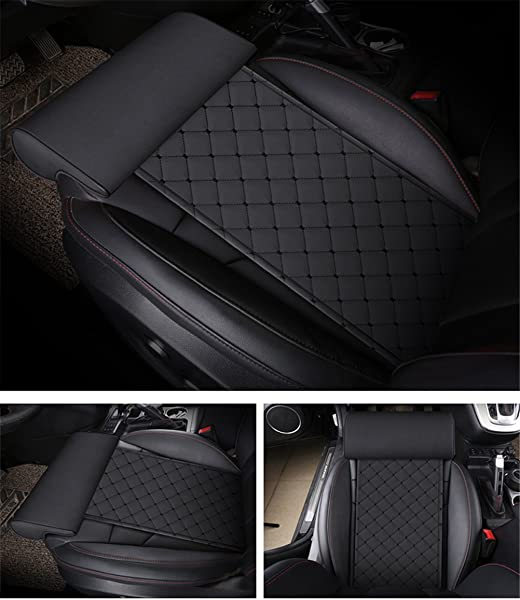 GFYWZ Car Extended Seat Leather Cushion With Comfort Leg Support Pillow For Long Distance Driving For Cars Buses Trains Office Home Leg Rest Cushion Black1