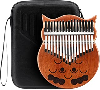 Melodic 17 Keys Kalimba Mahogany Owl Wood Thumb Piano Finger Percussion with Tuning Hammer Waterproof Bag