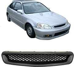 FREE MOTOR802 T-R Style Grille Fits 1996 1997 1998 Honda Civic ABS Black Front Bumper Hood Grill Hood Guards