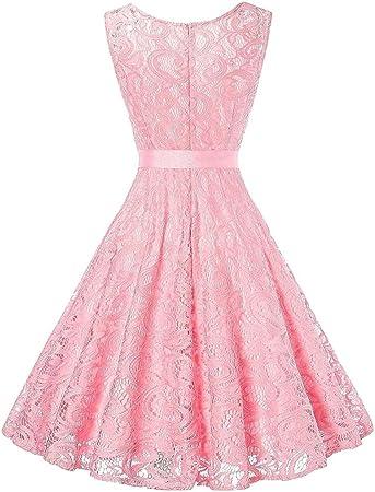Amphia Damen Spitzen Rockabilly Kleid Festlich Partykleid Cocktailkleid Brautjungfern Kleid Rundhals V Ausschnitt Armellos Rosa Xl Amazon De Bekleidung
