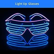Light Up EL Wire Neon Shutter Glasses Flashing LED Rave Sunglasses for 80s, EDM, Parties Decorations(Purple+Blue)