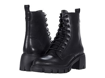 Steve Madden Hybrid Combat Bootie (Black Leather) Women