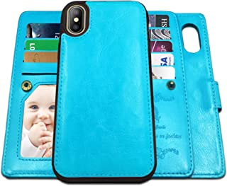 iPhone X Case,iPhone Xs Case Wallet with Magnetic Detachable Case,9 Card Slots,Wrist Strap, CASEOWL 2 in 1 Folio Flip Prem...