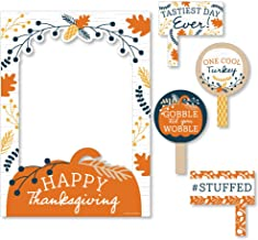 Big Dot of Happiness Happy Thanksgiving - Fall Harvest Party Selfie Photo Booth Picture Frame and Props - Printed on Sturdy Material
