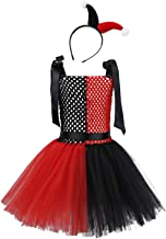 iiniim Kids Girls Jester Clown Costumes Fancy Dress up with Hair Hoop Halloween Party Costumes Mesh Tutu Skirt